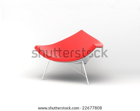 Furniture: armchair in red lather - stock photo