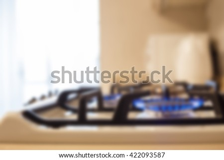 furniture background. gas stove luxury in the kitchen. blurred - stock photo