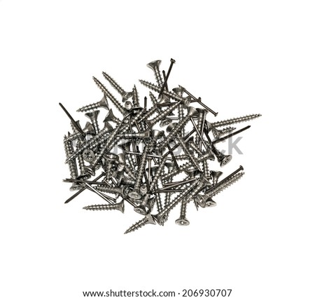 Furniture fittings - nails and screws on white background - stock photo