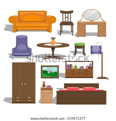 Furniture for bedroom. Lamp and table, chair and picture, chest of drawers and wardrobe, double bed and sofa, table and interior - stock photo