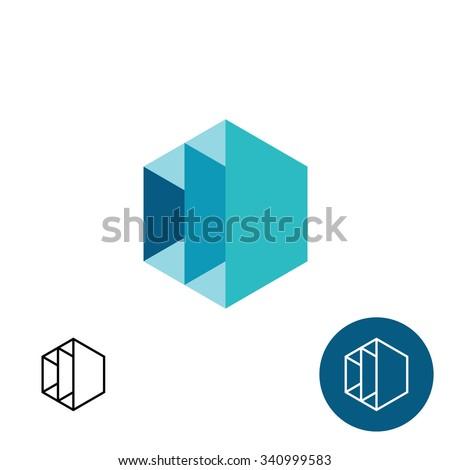 Furniture rack frame construction 3D hex logo template - stock photo