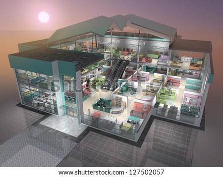 Furniture shop inside. 3D visualisation. - stock photo