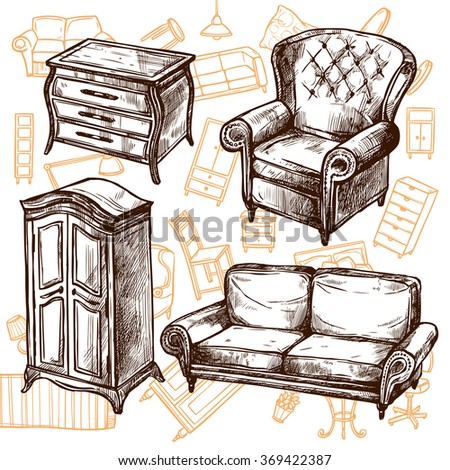 Furniture Sketch Seamless Concept  - stock photo