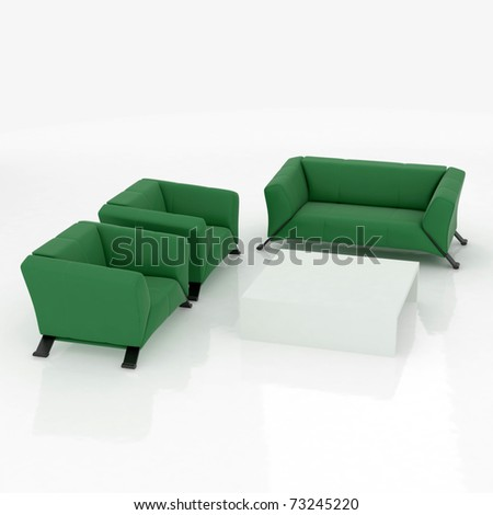 furniture, sofa and chairs isolated on white background - stock photo