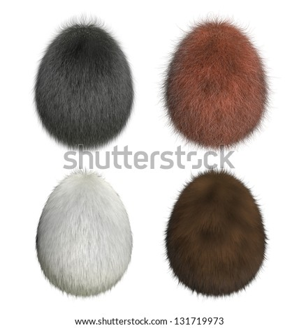 Furry easter eggs : gorilla, orang-utan, polar bear, brown bear (3D render) - stock photo