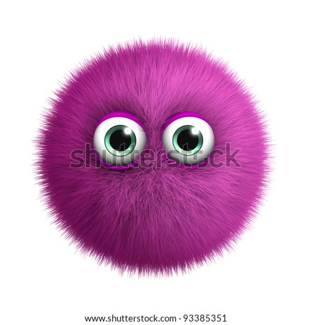 furry pink monster - stock photo