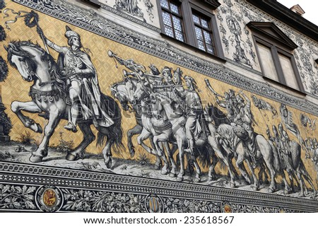 Furstenzug (Procession of Princes, 1871-1876, 102 meter, 93 people) is a giant mural decorates the wall. Dresden, Germany. It depicts to celebrate the 800 year anniversary of the Wettin Dynasty - stock photo