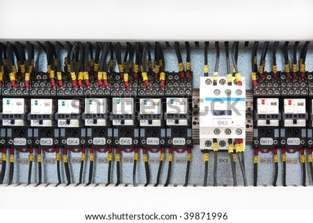 fusebox panel and wires - stock photo