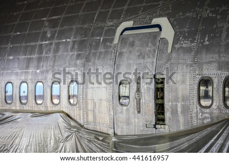 Fuselage of jet aircraft without paint.  - stock photo