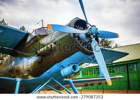Fuselage of the old single-engine aircraft with a propeller. - stock photo