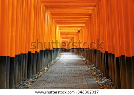 Fushimi Inari Shrine Torii temple in kyoto Japan - stock photo