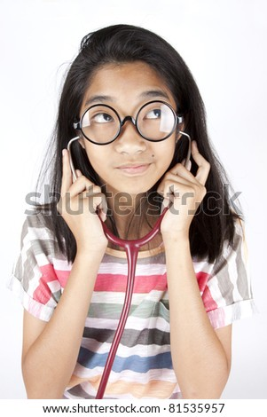 future a doctor, Asian girl with her dream career a doctor. - stock photo