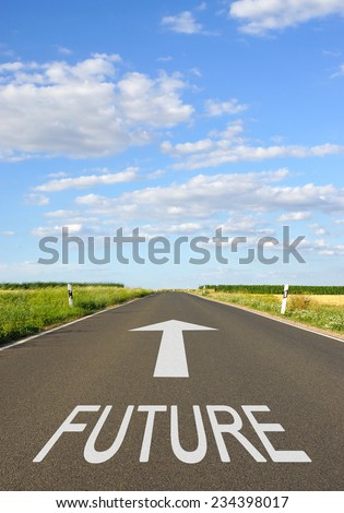 Future - Business concept with street and arrow - stock photo