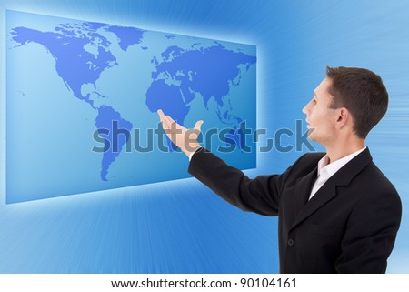 Future business solutions businessman blue operating interface - stock photo