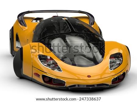 future car yellow - stock photo