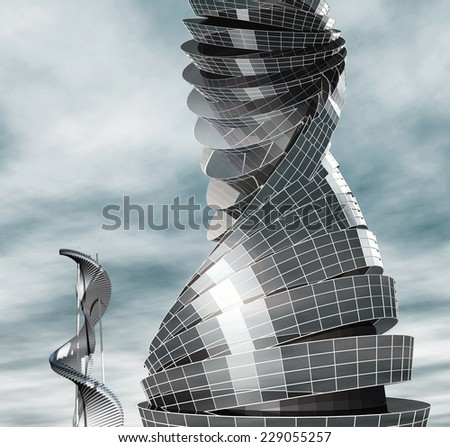 Future city. Fantastic design for the modern building - stock photo
