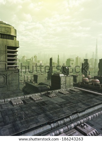 Future City Skyline in Green Haze. View of a futuristic science fiction city skyline in a green haze or smog, 3d digitally rendered illustration - stock photo