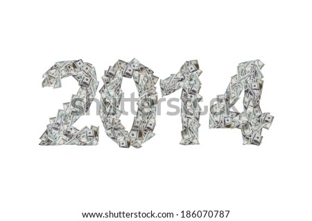 Future concept, year 2014 numbers with flying one hundred dollar banknotes, isolated on white background. - stock photo