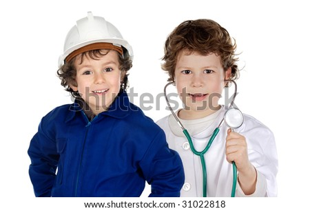 future generation of workers a over white background - stock photo