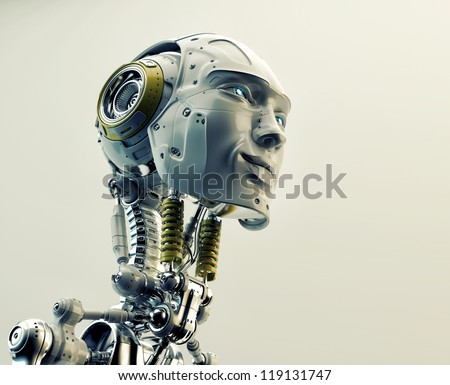 Future handsome man with headphones in profile. 3d render - stock photo