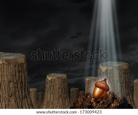 Future hope and the promise of rebirth as a business and environment concept with a chopped forest and a single oak acorn seed on soil as a metaphor for renewal and the beginning of possibilities. - stock photo