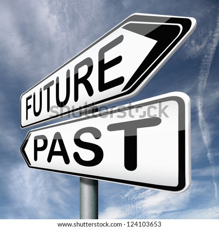 future or past yesterday or tomorrow timeline road sign arrow - stock photo