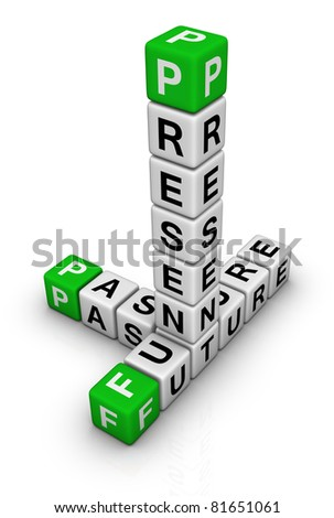 Future, Past & Present crossword - stock photo