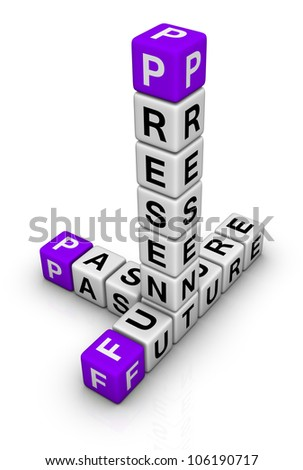 Future, Past & Present (cubes crossword series) - stock photo