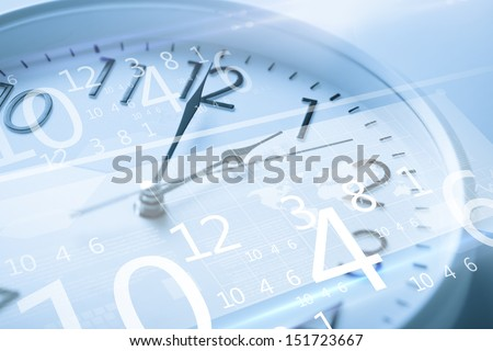 future technology and time management concept - clock and virtual screen - stock photo