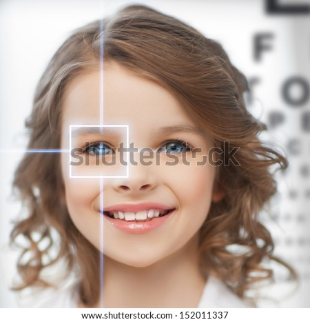 future technology, medicine and vision concept - cute girl with eye chart - stock photo