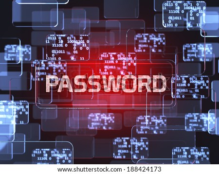 Future technology red touchscreen interface. Password screen concept - stock photo