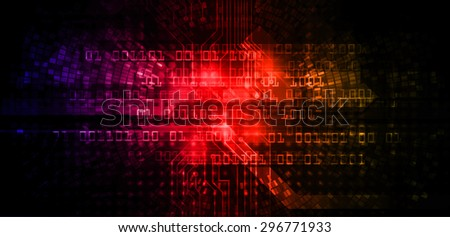 future technology, security concept background. vector.dark purple red orange Light Technology background for computer graphic website internet business. circuit. ray. pixel. one zero - stock photo