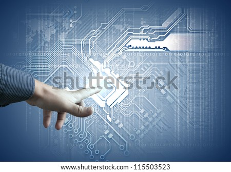 Future technology. touch button inerface illustration in blue colour - stock photo