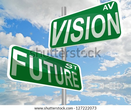 future vision sign sky clouds avenue street - stock photo