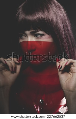 Future woman, asian girl with fantasy styling - stock photo