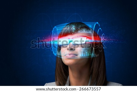 Future woman with high tech smart glasses concept - stock photo