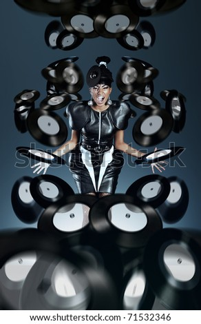 Futuristic african woman screaming with vinyl records - stock photo