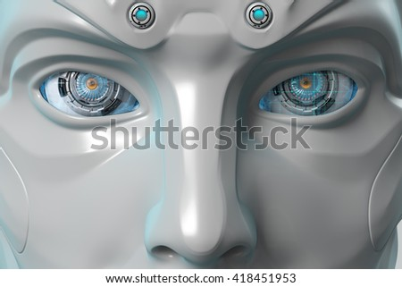 Futuristic android face with digital eyes Closeup bright shining mechanical eyes of a creative robot. High-tech artificial intelligence on blue background. 3d rendered image - stock photo