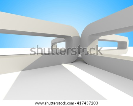 futuristic architecture on sky background. 3d render illustration - stock photo