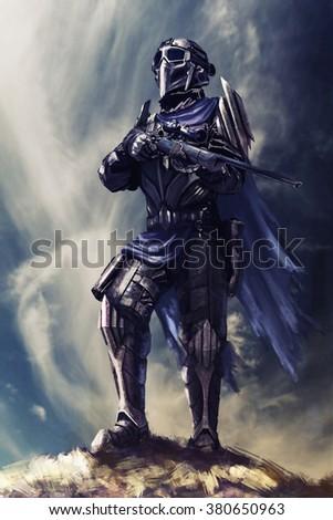 Futuristic armored warrior - stock photo
