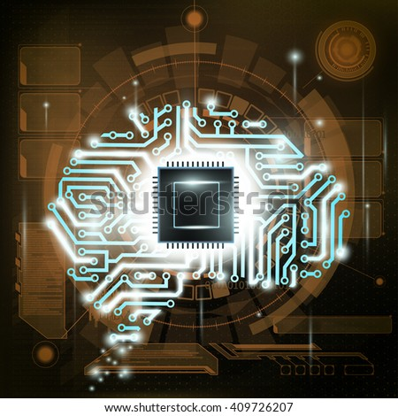 Futuristic background. HUD interface. Human brain is a computer circuit. - stock photo