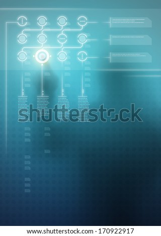 Futuristic blue digital display with user interface design and human silhouette in background - stock photo