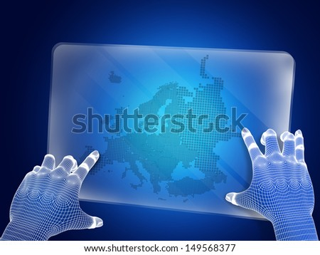 Futuristic blue figure touching screen with europe map - stock photo