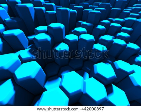 Futuristic Blue Hexagon Pattern Tile Background. 3dRender Illustration - stock photo
