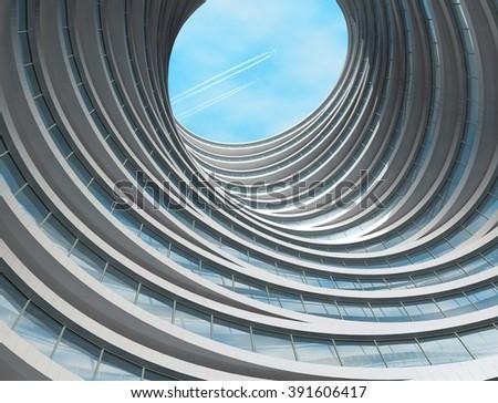 Futuristic building. Modern architecture - stock photo