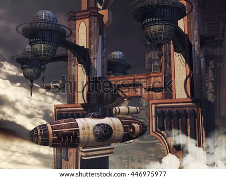 Futuristic building with a flying zeppelin in the clouds. 3D illustration. - stock photo