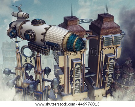 Futuristic buildings in the clouds and a colorful flying machine. 3D illustration. - stock photo