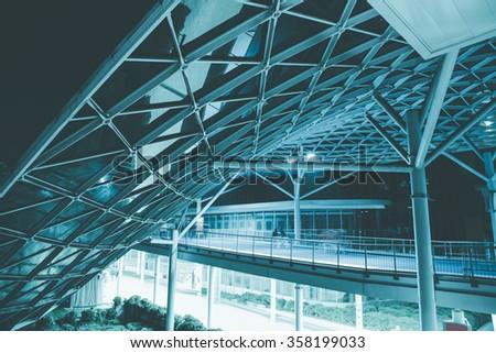 Futuristic business center by night - stock photo