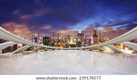 futuristic business perspective and cityscape at night - stock photo