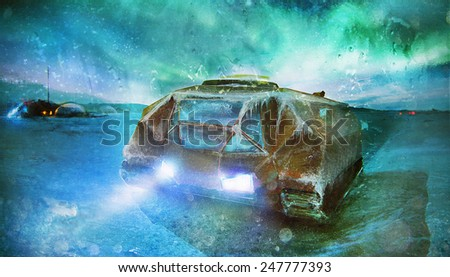 Futuristic caterpillar vehicle and space station on lost ice post apocalyptic planet concept art - stock photo